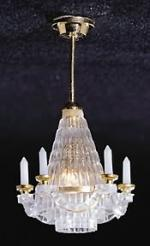 Brass Downrod Crystalene Chandelier
